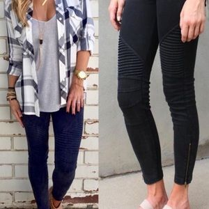 Pants - Black stretch moto leggings
